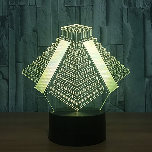 3D Illusion Lampe Kindergeschenk Nachtlicht Pyramidenlampe Led Tischlampe, 7 Farben Ändern Touch Schalter Schreibtisch Dekoration Lampen Kind Spielzeug Geburtstagsgeschenk.