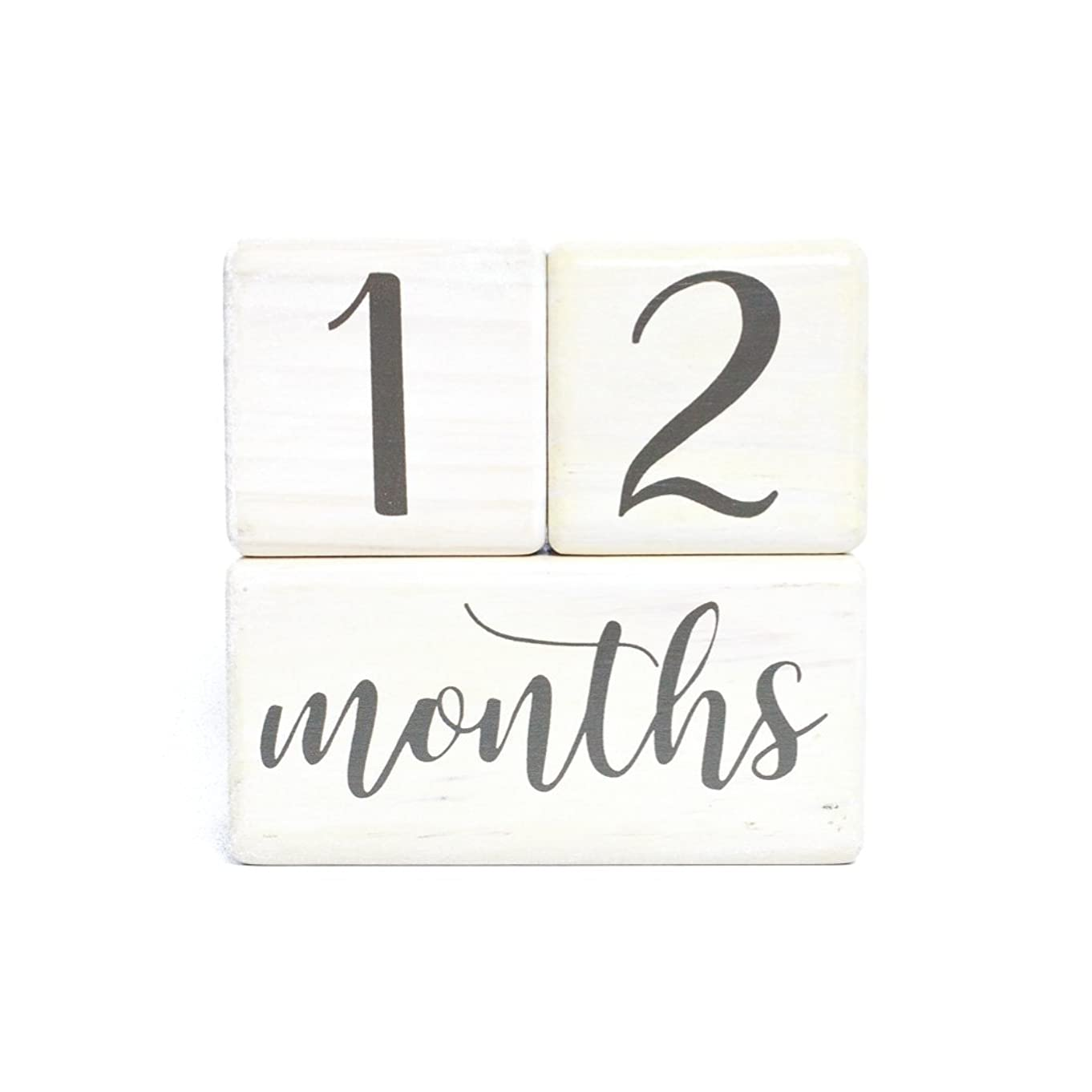 LovelySprouts Premium Solid Wood Milestone Age Blocks   Choose from 2 Stain Options (Pickling White)   Baby Age Photo Blocks   Perfect and Keepsake