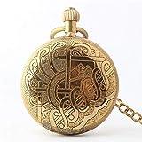 SGSG Reloj de Bolsillo de Estilo ferroviario de Viento Manual mecánico de Acero Inoxidable Chapado en Oro para Hombre