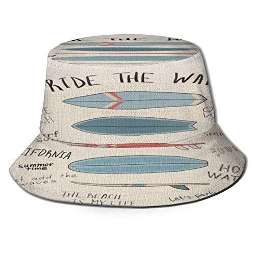 TTLUCKY Sombrero de Pesca,Shams Blue Theme Tablas de Surf Throw Beach Board Shams Surf Ocean Beacher Summer Swim,Senderismo para Hombres y Mujeres al Aire Libre Sombrero de Cubo Sombrero para el Sol