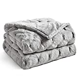 YnM Fluffy Weighted Blanket (Light Grey, 50''x60'' 10lbs) Luxury & Fuzzy Faux Fur Weighted Blanket Throw, Cosy & Relaxing Blanket, Home Decor Piece