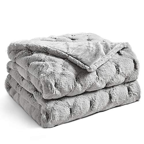 YnM Fuzzy Faux Fur Weighted Blanket (Light Grey, 50''x60'' 10lbs) Luxury & Fuzzy Weighted Blanket Throw, Cosy & Relaxing Blanket, Home Decor Piece