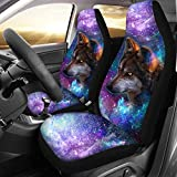 Advocator Universe Wolf Saddle Blanket Car Seat Covers for Front of 2,Vehicle Seat Protector Car Mat Fit Most Car,Truck,SUV,Van