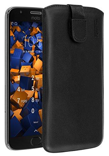 mumbi Echt Ledertasche kompatibel mit Motorola Moto G5S Plus Hülle Leder Tasche Hülle Wallet, schwarz