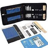 Juego de lápices de bocetos, 36 unidades, profesional, para bocetos y dibujar, con estuche de grafito (incluye libro de bocetos)