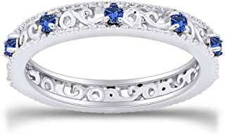 Jewel Zone US Round Cut Simulated Blue Sapphire Stackable Ring in 14K Gold Over Sterling Silver