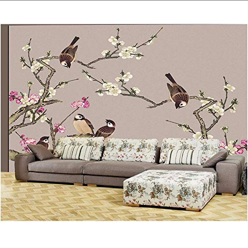 MRQXDP Foto-Hochland-Bastelpfirsich-Blüten-Haus und alles Hing Flower Birds Backdrop Tapeten papel de parede