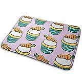 Uosliks LAD19 - Felpudo absorbente para decoración de baño, interior y baño, diseño de zanahoria y tarta de Pascua, color morado
