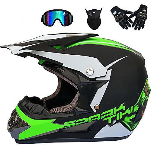 Junqin Casco de Motocicletas de la Cara Completa, Motocross Adult Motoccycle Helmet MX ATV Scooter, con Gafas Gloves Máscara, Certificación ECE (L)-green22||L