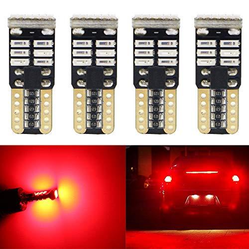 ALOPEE Pack de 4-194 168 2825 W5W T10 Ampoule de Rechange Sans Polarité LED 12V Rouge 3014 18SMD Ampoules de Rechange LED