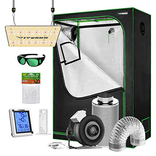 VIVOSUN Grow Tent Complete Kit, 48'x24'x60' Growing Tent with VS1000 Led Grow Light 4 Inch 203 CFM Inline Fan Carbon Filter and 8ft Ducting Combo