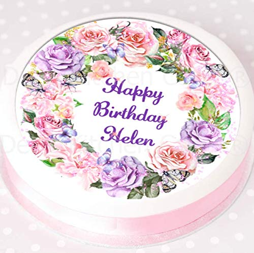 Personalised Birthday Cake Topper - Your Message - Pink Purple Flowers - Edible Icing - 7.5' Round
