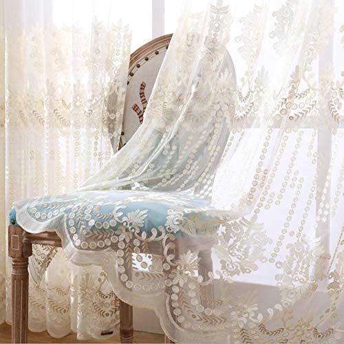 Rideau Occultant Broderie Isolant Thermique Rideau Occultant à Oeillet Rideau pour Livingroom Salon Chambre bébé Balcon,White,W140xL245cm*1piece