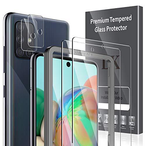 LK Compatibile con Samsung Galaxy A71 Pellicola Protettiva, 2 Pezzi Vetro Temperato e 2 Pezzi