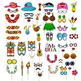 Dsaren 60 Pcs Accesorios para Fotomatón Divertido Bigotes Gafas Photo Booth Props Accesorios para Fiesta, Partido Boda, Hawaiano Beach Pool Parties, Cumpleaños