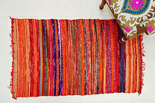 Traditional Jaipur Alfombra Tejida a Mano de Chindi, Tela Hecha a Mano de algodón Trenzado Bohemio, Suelo Decorativo, Puerta, alfombras de múltiples Colores, 3 x 5 pies