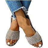 Veodhekai Women High Heel Sandals Sandals Crystal Roman Flat Slippers Casual Beach Indoor Outdoor Shoes (Black, US:9)