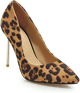 Pointed Leopard Print Heels For Banquet Wedding Dress Daily (Color : Camel, Size : 35)