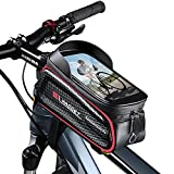 WACCET Bolsa Cuadro Bicicleta, Gran Capacidad Bolsa Manillar Bicicleta Impermeable con Pantalla Táctil de TPU y Visera Bolsa Movil Bicicleta para Teléfono Inteligente por Debajo de 6,8' (Rojo)