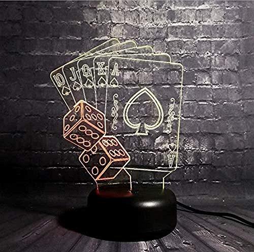 3D illusion lampe Würfel Poker Spades Solitaire LED Nachtlicht Fernbedienung7 Farbe USB Hauptbeleuchtung Weihnachtsdekoration Kinder Kinderspielzeug Geschenke [Energieklasse A+++]