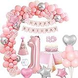 MMTX Rosa Compleanno Decorazioni per Ragazza 1 Anno, Foil Elio Palloncini Numeri 1, Festone Buon Compleanno Palloncini in Lattice per Addobbi Compleanno Battesimo Decorazioni Feste Anniversario
