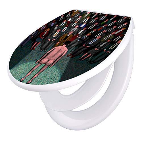 banjado Familien WC Sitz mit Absenkautomatik | Toilettendeckel mit Kindersitz | Klodeckel weiß | Toilettensitz mit Soft Close | 44 x 37 cm WC Deckel mit Motiv Nackte Wahrheit