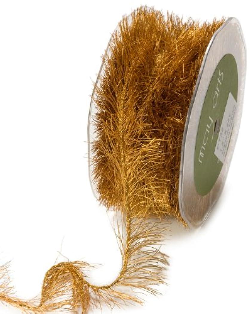 May Arts Ribbon, Antique Gold Metallic Eyelash