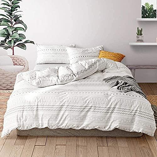 Juego de cama de microfibra de Bohemia color marfil y blanco, 200 x 200 cm, 1 funda nórdica con...