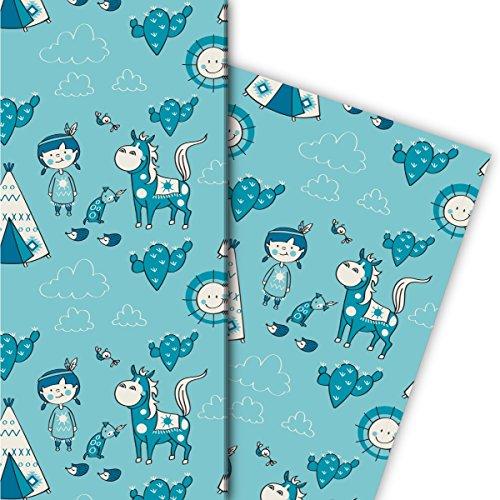 Leuke cadeaupapierset voor kinderen (4 vellen), decoratiepapier, papier om in te pakken met Indiaanse paard tent en zon, lichtblauw, voor leuke cadeauverpakking en verrassingen, 32 x 48 cm
