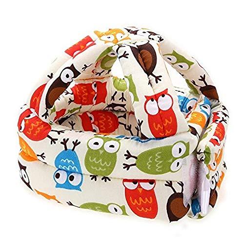 Baby Kleinkind Schutzhelm Kinder Kopfschutz Baumwolle Schutzkappe Verstellbarer Kopfschutz zum Erlernen des Kletterns und Gehens, beige Eule