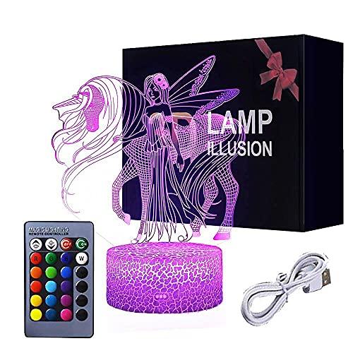 Lámpara de Ilusión de Unicornio 3D,Luz de Noche 7 Colores que Cambian con Lámpara de Temporizador Juguetes de Control Remoto Táctil Inteligente Suministros Para Fiestas