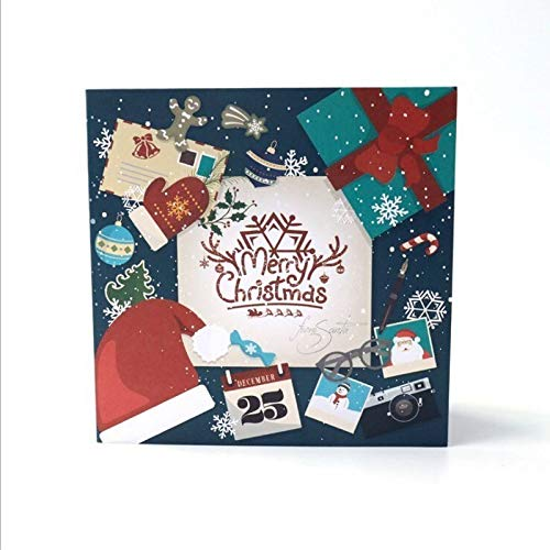 Zoo-yilHKA Carte Noel, Noël 3D Creative Capital Cartes à la Main, la Carte mémoire de Bureau Décoration Creative Blessing Carte décoration. (Color : B)