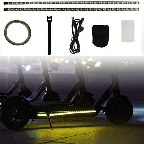 FTIK Tira de Luces LED para Scooter eléctrico,Ciclismo Nocturno, monopatín, de Seguridad,Impermeable, Plegable,lámpara de Color Decorativa para Xiaomi M365 / Pro/ninebot A1