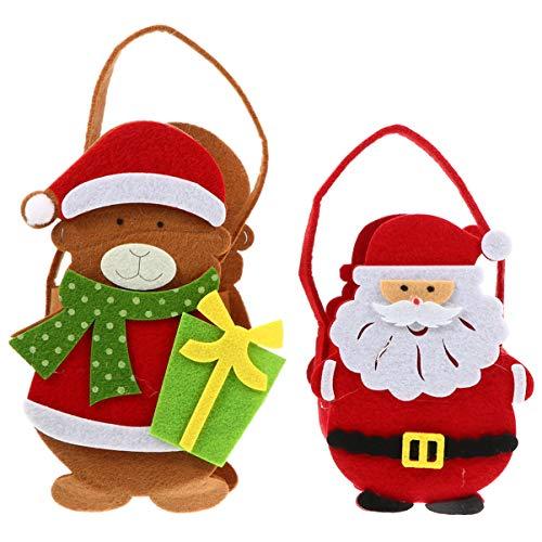 ibasenice 2 Piezas Bolsa de Caramelo de Fieltro de Navidad Bolsa de Regalo en Forma de Oso de Santa Claus con Asa Bolsa de Embalaje Niños