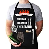 Funny apron for men, BBQ aprons for men, Grilling aprons, Chef cooking apron, with two tool pocket, Adjustable Neck Strap Waterproof and OilProof Best for Grilling, Birthday Gifts for Dad, Mens gifts.
