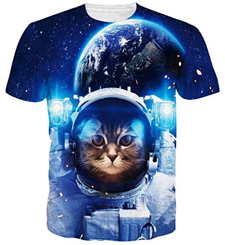 Goodstoworld Gato del Espacio 3D Camisa de la impresión Mujeres de los Hombres de Verano Personalizada Casual de Manga Corta Camiseta T-Tops Ropa Pequeño