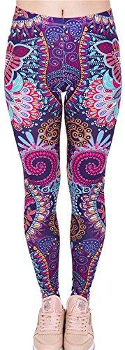 Tamskyt Leggings für Damen, volle Länge, für Yoga, Laufen, Pilates, Fitness, Fitness, Laufen, Pilates, Fitness, Skinny Hose, 36/38/40, dehnbar Gr. One size , Mandala-Blume