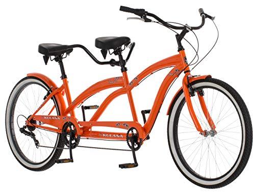 Kulana Lua Tandem Adult Beach Cruiser Bike, 26-Inch Wheels, 7-Speed, Orange