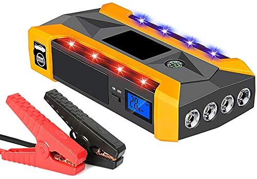 Metdek Cargador de arranque para coche, hasta 6,0 l, controlador de carga de coche multifunción de 20000 mAh y 600 A, portátil, con doble carga USB, linterna LED