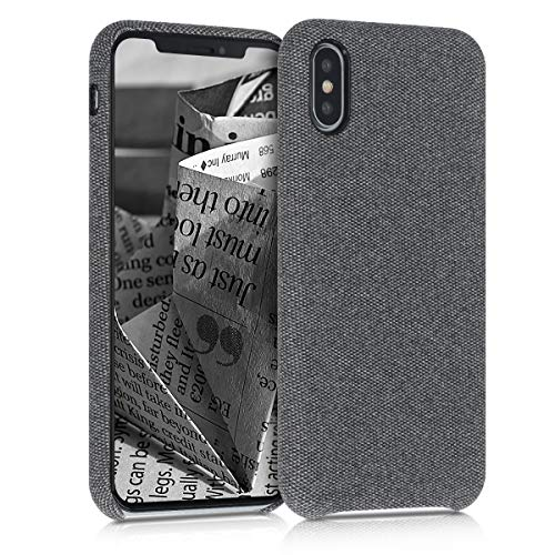 kwmobile Hülle kompatibel mit Apple iPhone XS - Stoff Case Handy Schutzhülle - Backcover Cover Grau