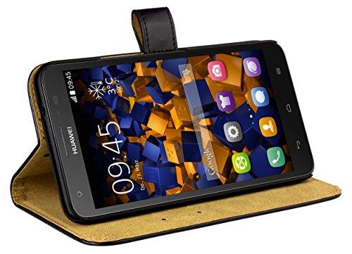 mumbi Echt Leder Bookstyle Hülle kompatibel mit Huawei Ascend G750 Hülle Leder Tasche Hülle Wallet, schwarz