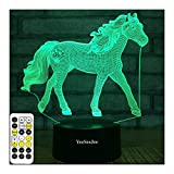 YeeSeeJee Horse Gifts for Girls,3D Night Light with 7 Colors Adjustable Timer...