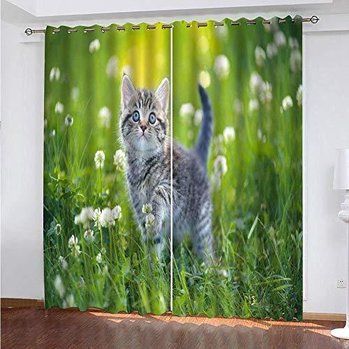 MEKVF Wärmedämmvorhang Eyelet Vorhang, 3D Printing Shading Vorhänge Balkon Vorhänge Schlafzimmer Salon Fenster,2 Panel 280x250cm(Wxl) Katze Weißes Gänseblümchen