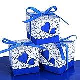 Wady 100 pz Scatole Portaconfetti di Carta Incluso Nastrino Bomboniere Regalo Segnaposti Decorazioni per Festa Matrimonio Battesimo (Blu Scuro)