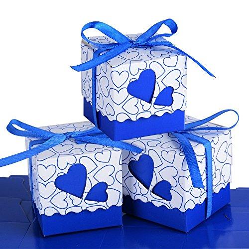 Set van 100 papieren Confetti dozen inclusief lint bruiloft gunsten partij decoratie bruiloft plaats kaarten doopcadeau (donkerblauw)