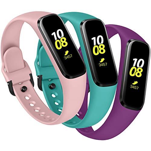 KIMILAR Armbänder Kompatibel mit Samsung Galaxy Fit E Armband Silikon (Nicht für Fit) [3 Pack], Ersatzband Uhrenarmband Kompatibel mit Galaxy Fit E 2019 Smartwatch -Blaugrün/Pflaume/Rosa