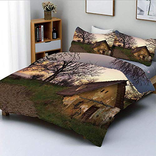 Duvet Cover Set,Battered Stone House in Field Messy Shed Building Provincial Pastoral Concept Decorative 3 Piece Bedding Set with 2 Pillow Sham,Multi,Best Gift for Kids & Adult