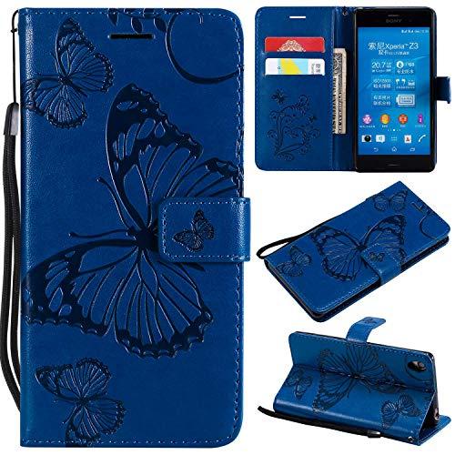 Bravoday Sony Xperia Z3 Hülle Handyhülle Sony Xperia Z3 Schutzhülle [Kartenfach] [Magnetverschluss] TPU Soft Shockproof für Sony Xperia Z3-Blau