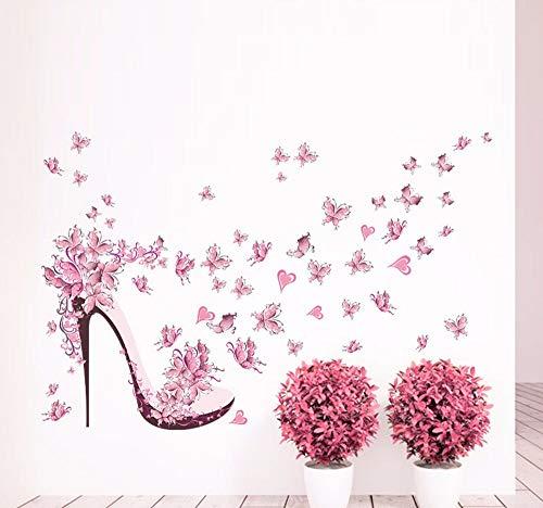 Hanjiming Roze Vlinder Hoge Hakken Patroon Muurstickers Huisdecoratie Woonkamer Moderne Vliegtuig Muursticker Huisdecoratie