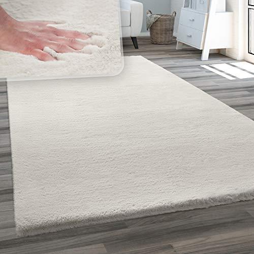 Teppich Wohnzimmer Kunstfell Plüsch Hochflor Shaggy Weich Waschbar, Grösse:140x200 cm, Farbe:Creme